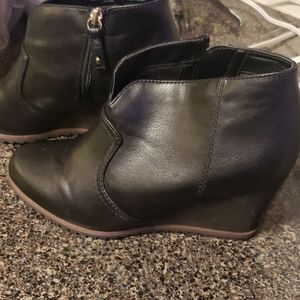 Dr. Scholl's womens black leather wedge bootie
